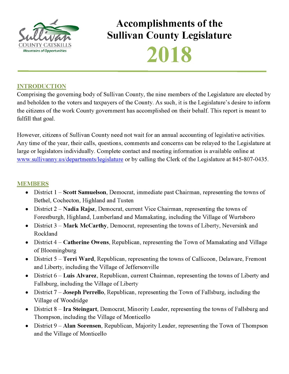 2018 Legislature Accomplishments, First Page