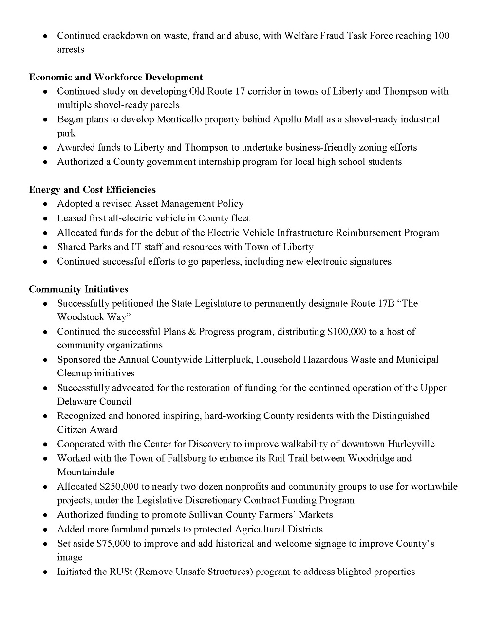 2018 Legislature Accomplishments, Third Page