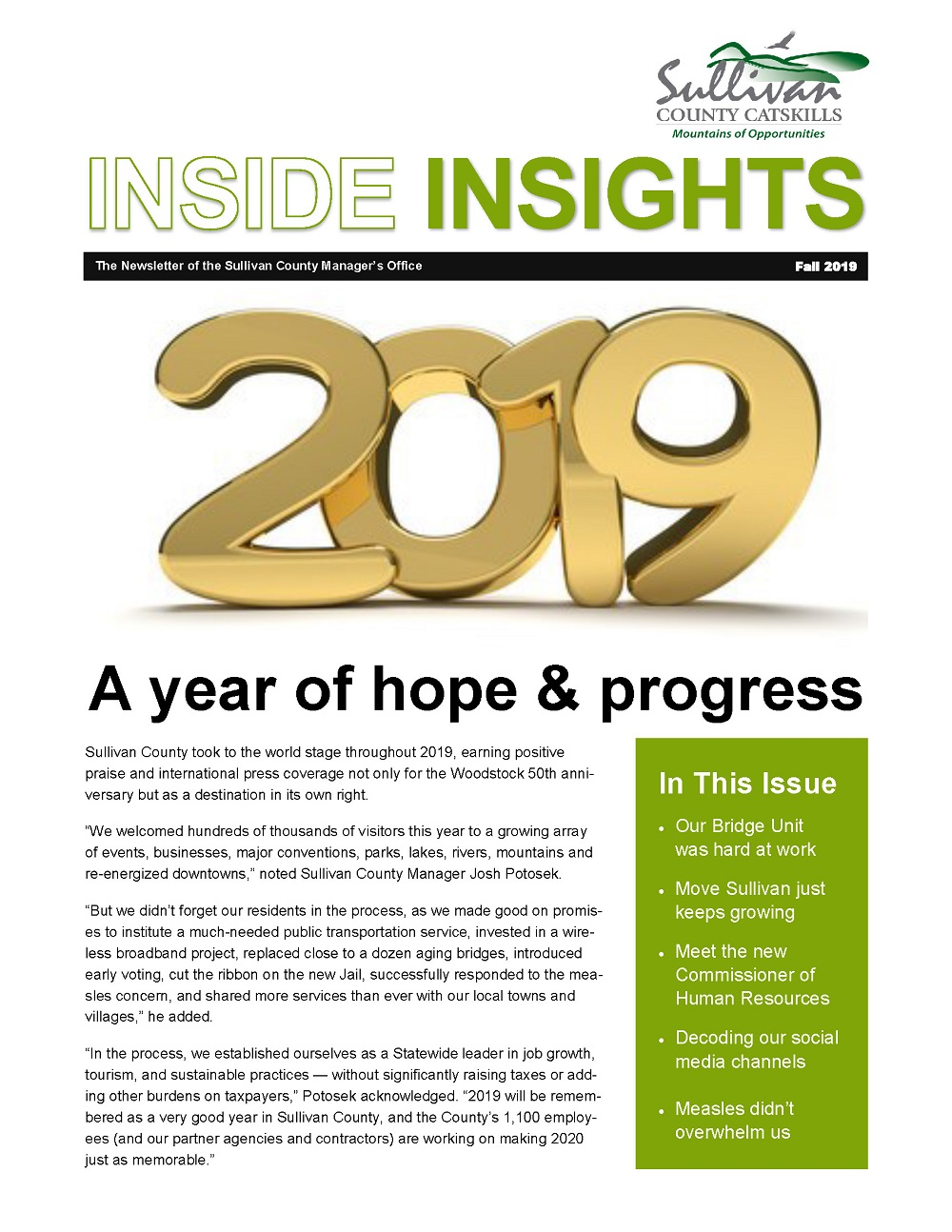 Fall 2019 Edition of County Manager's Newsletter