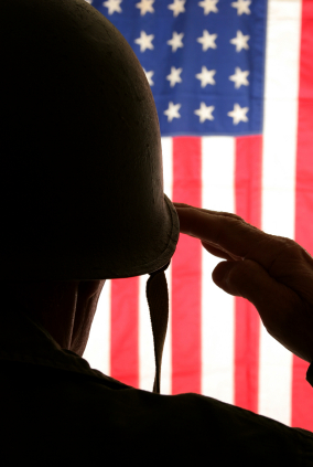 Solider saluting the flag