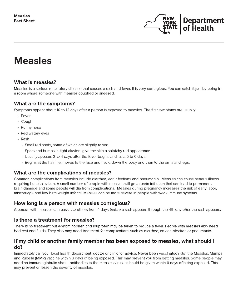 Measles Fact Sheet