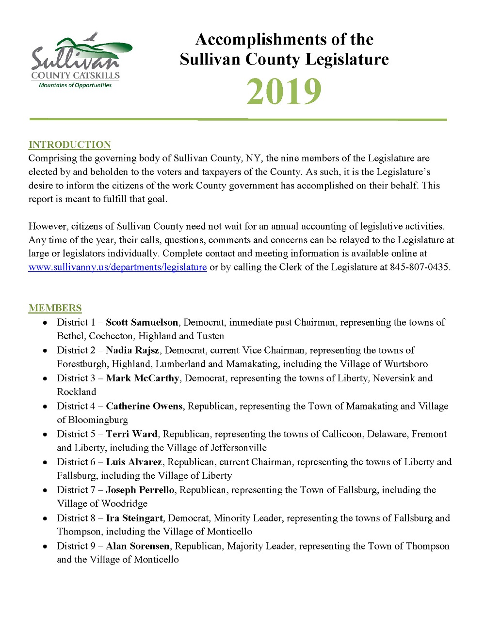 2019 Legislature Accomplishments Page 1