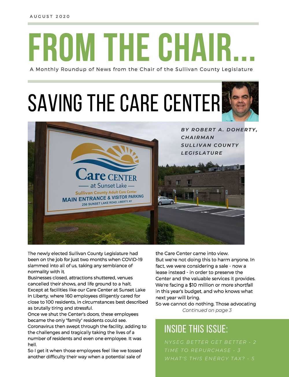 From the Chair Newsletter, August 2020