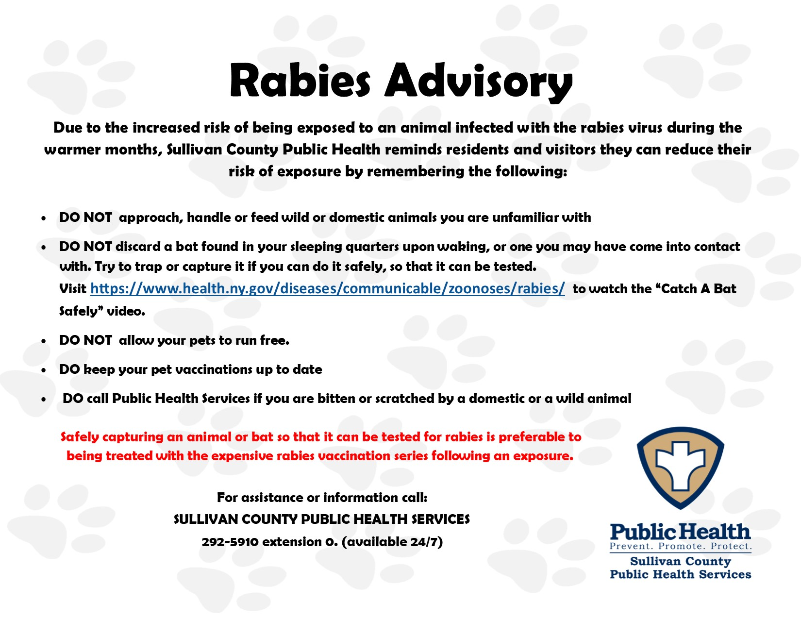 Rabies Advisory and Prevention