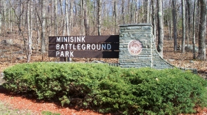 The entrance sign to Minisink Battleground Park