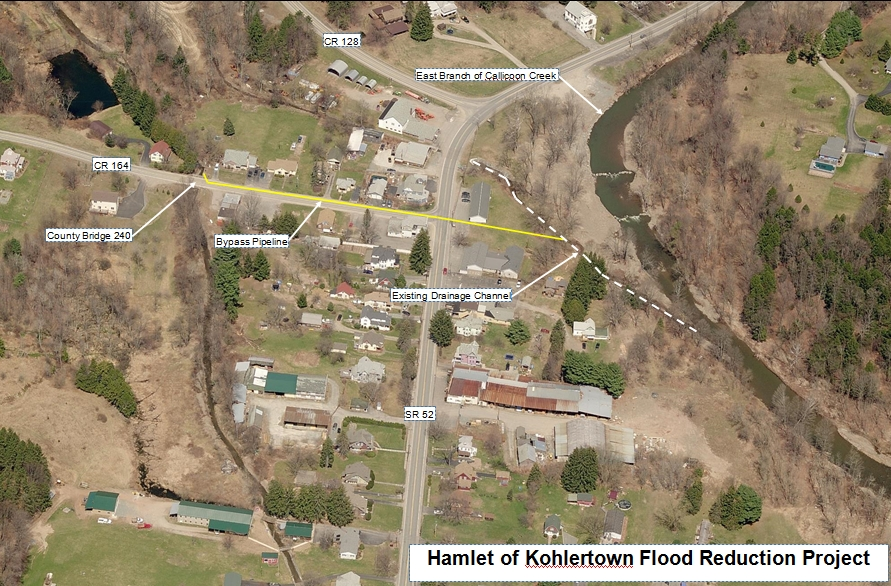 Map of Kohlertown Flood Reduction Project